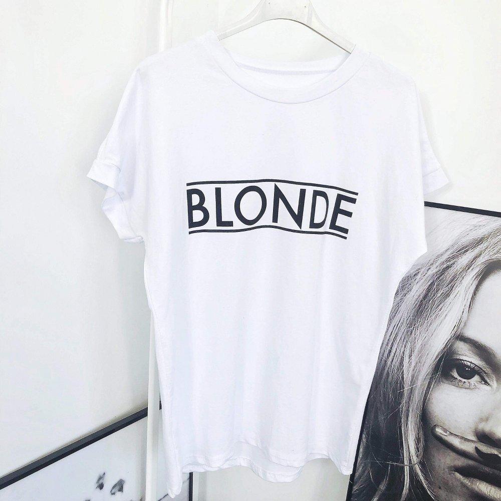 T-SHIRT BLONDE - biały