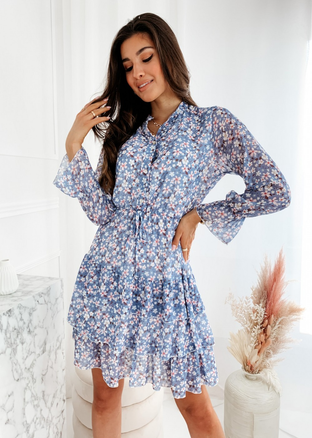 SUKIENKA RINNY FLOWER - blue