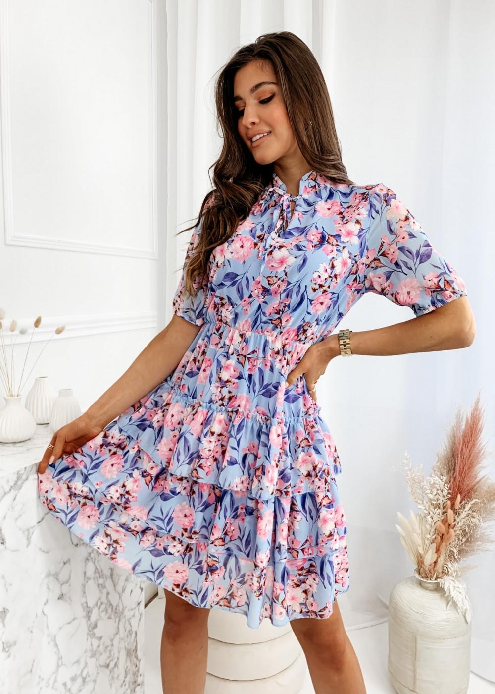 SUKIENKA NANCY FLOWER - blue