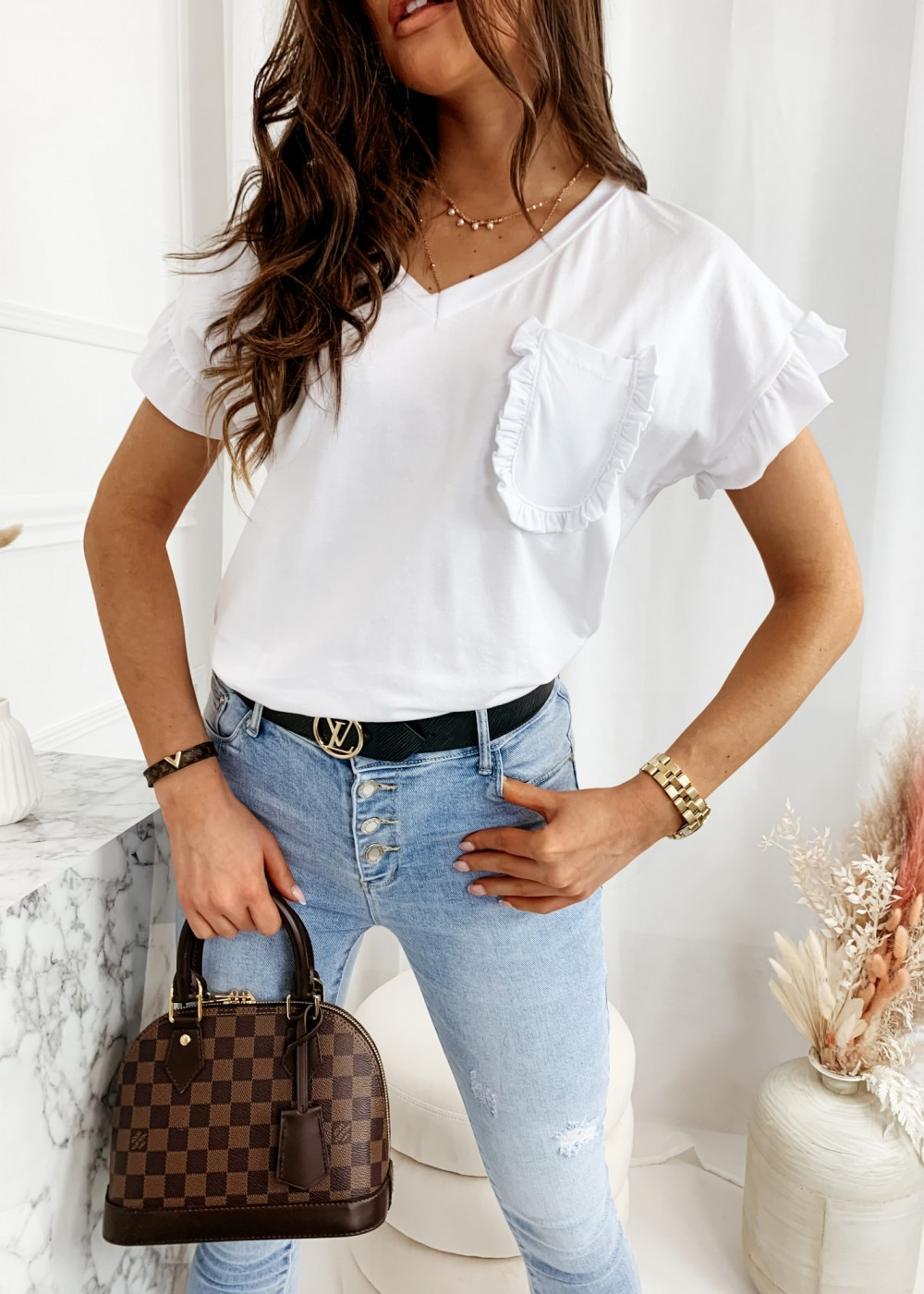T-SHIRT BUTTERFLY - white
