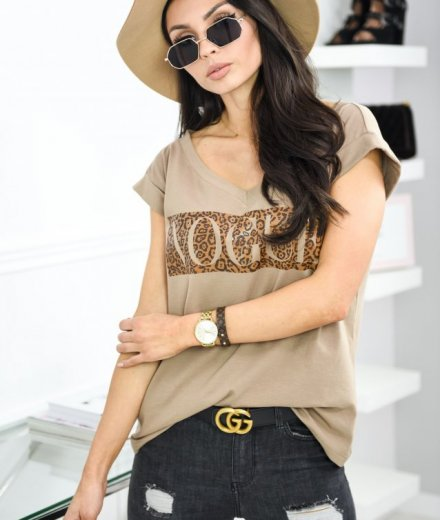 T-SHIRT VOGUE V - begie