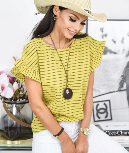 BLUZKA BOW z łańcuszkiem - yellow