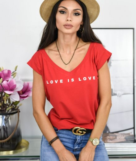 T-SHIRT LOVE - czerwony