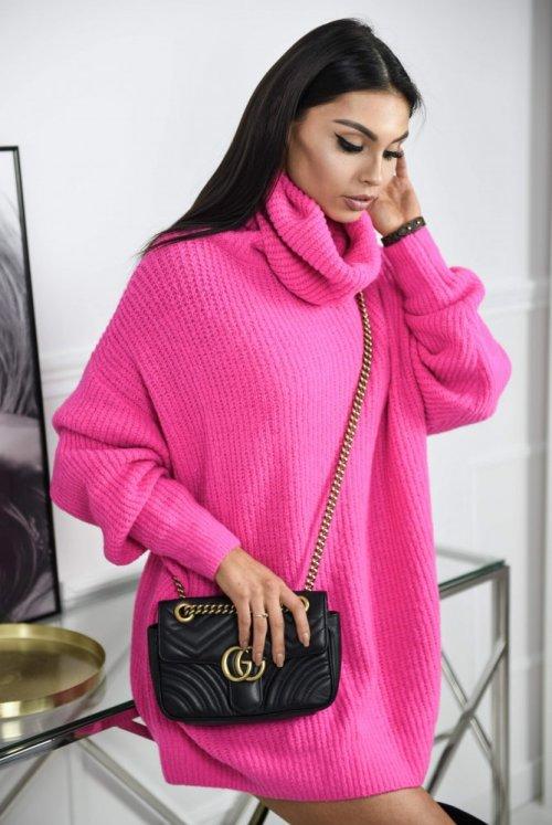 SWETER typu ZARA - neon pink