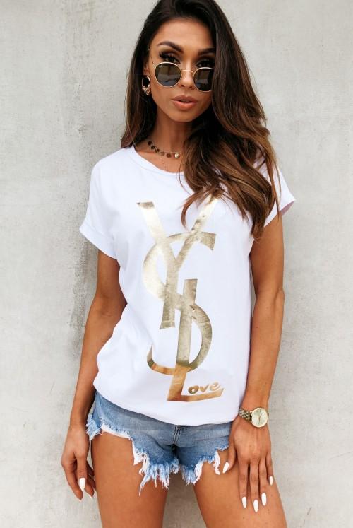 T-SHIRT YSL - white
