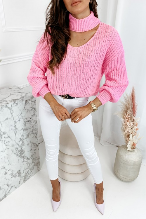 SWETER V MEXI - pink
