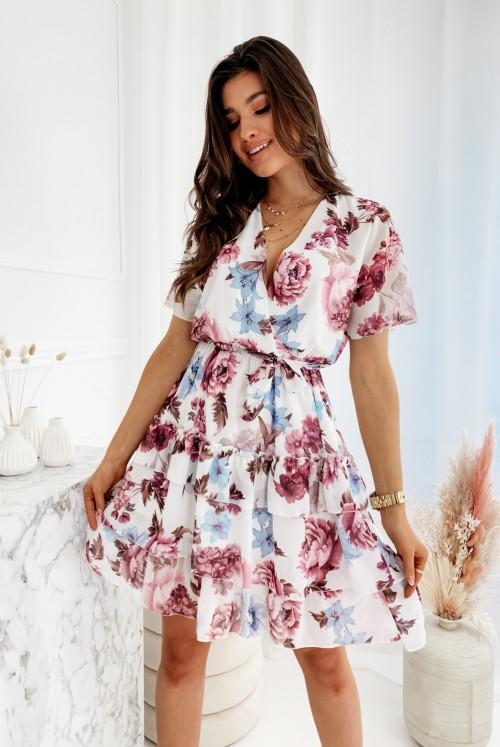 SUKIENKA LIVI PEONIE FLOWER - white
